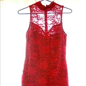 Wine lace bodycon dress